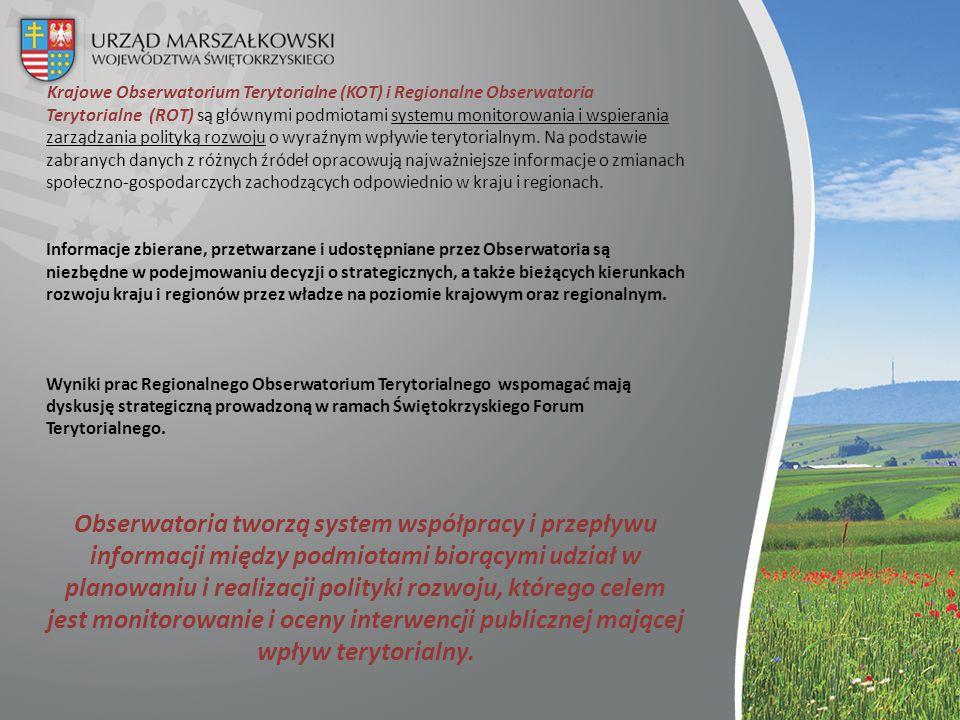Krajowe Obserwatorium Terytorialne (KOT) i Regionalne Obserwatoria Terytorialne (ROT) są głównymi podmiotami systemu monitorowania i wspierania zarządzania polityką rozwoju o wyraźnym wpływie terytorialnym.