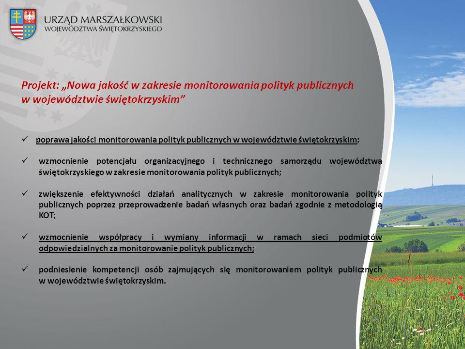 """Projekt: """"Nowa jakość w zakresie monitorowania polityk publicznych w województwie świętokrzyskim"""" poprawa jakości monitorowania polityk publicznych w"""