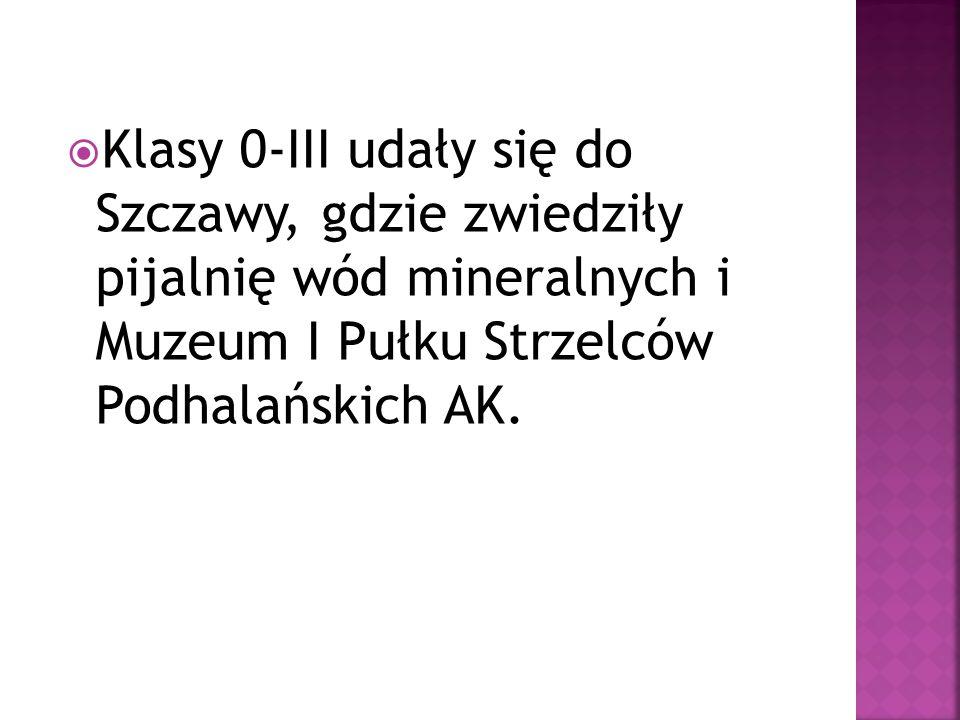  Klasy 0-III udały się do Szczawy, gdzie zwiedziły pijalnię wód mineralnych i Muzeum I Pułku Strzelców Podhalańskich AK.