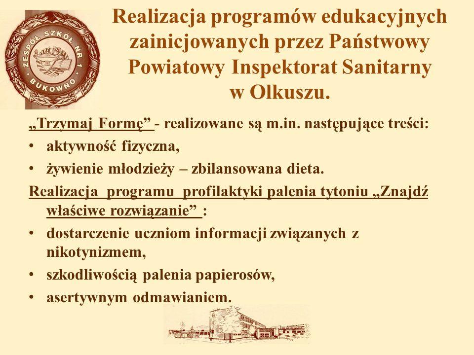 """Realizacja programów edukacyjnych zainicjowanych przez Państwowy Powiatowy Inspektorat Sanitarny w Olkuszu. """"Trzymaj Formę"""" - realizowane są m.in. nas"""