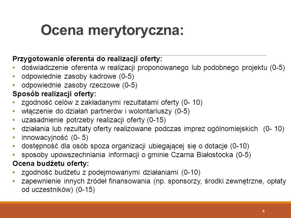 Ocena merytoryczna: 4 Przygotowanie oferenta do realizacji oferty: doświadczenie oferenta w realizacji proponowanego lub podobnego projektu (0-5) odpo