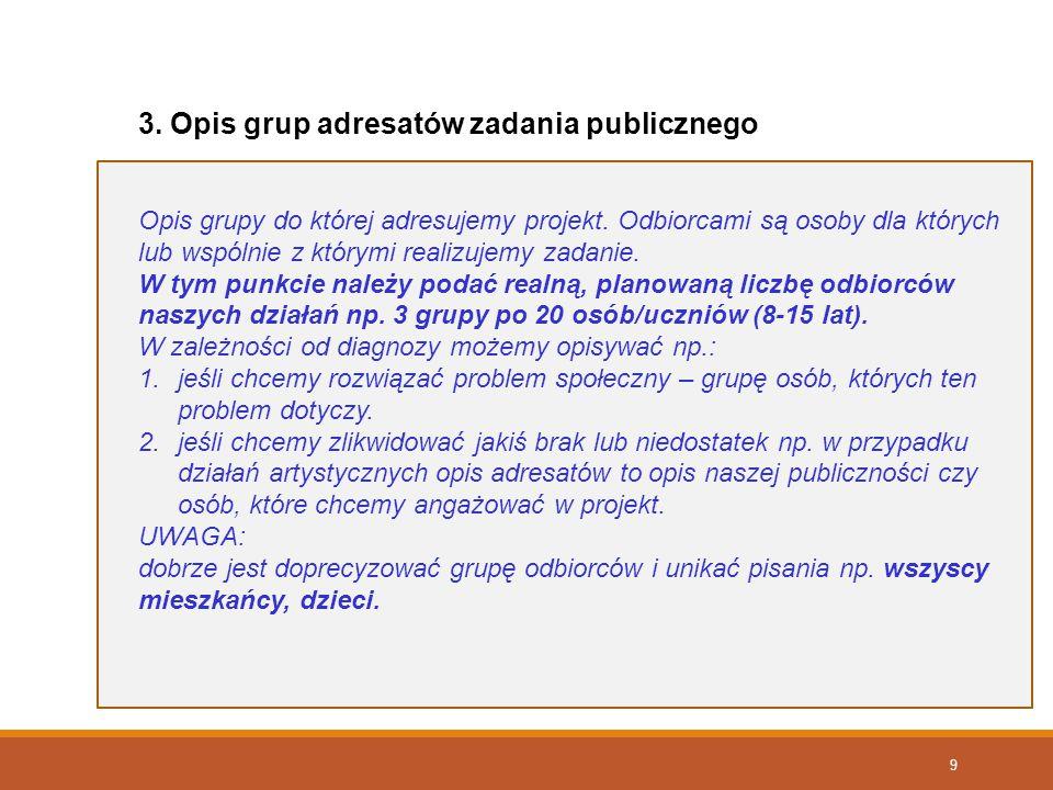 9 3. Opis grup adresatów zadania publicznego Opis grupy do której adresujemy projekt. Odbiorcami są osoby dla których lub wspólnie z którymi realizuje