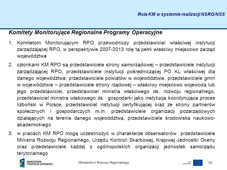 Ministerstwo Rozwoju Regionalnego 10 Komitety Monitorujące Regionalne Programy Operacyjne 1.Komitetom Monitorującym RPO przewodniczy przedstawiciel wł