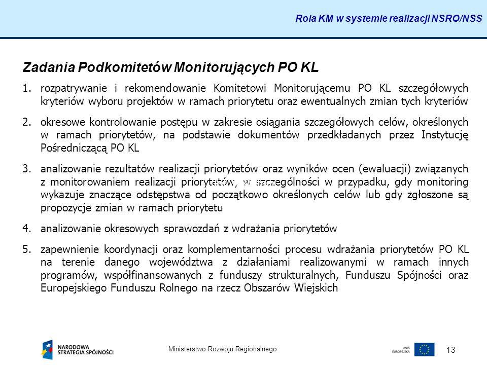 Ministerstwo Rozwoju Regionalnego 13 Zadania Podkomitetów Monitorujących PO KL 1.rozpatrywanie i rekomendowanie Komitetowi Monitorującemu PO KL szczeg