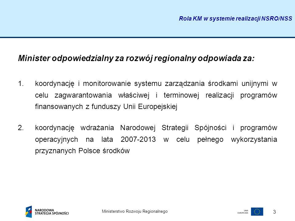 Ministerstwo Rozwoju Regionalnego 3 Minister odpowiedzialny za rozwój regionalny odpowiada za: 1.koordynację i monitorowanie systemu zarządzania środk