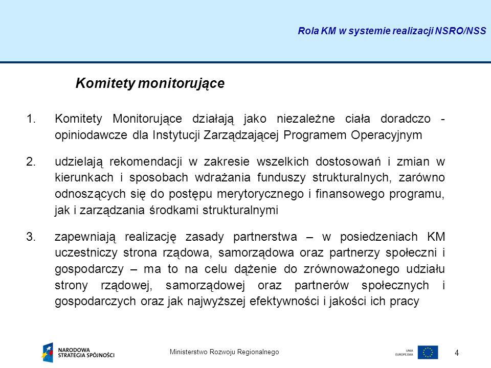 Ministerstwo Rozwoju Regionalnego 4 Komitety monitorujące 1.Komitety Monitorujące działają jako niezależne ciała doradczo - opiniodawcze dla Instytucj