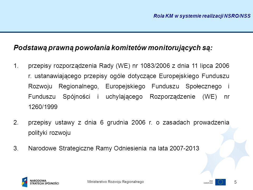 Ministerstwo Rozwoju Regionalnego 5 Podstawą prawną powołania komitetów monitorujących są: 1.przepisy rozporządzenia Rady (WE) nr 1083/2006 z dnia 11