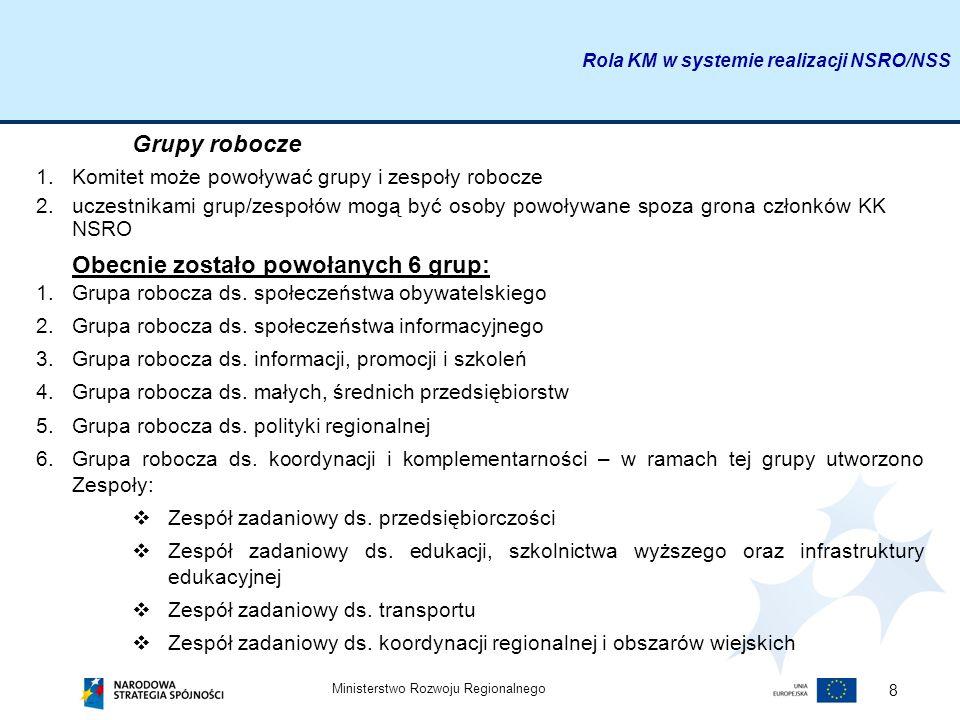Ministerstwo Rozwoju Regionalnego 8 Grupy robocze 1.Komitet może powoływać grupy i zespoły robocze 2.uczestnikami grup/zespołów mogą być osoby powoływ