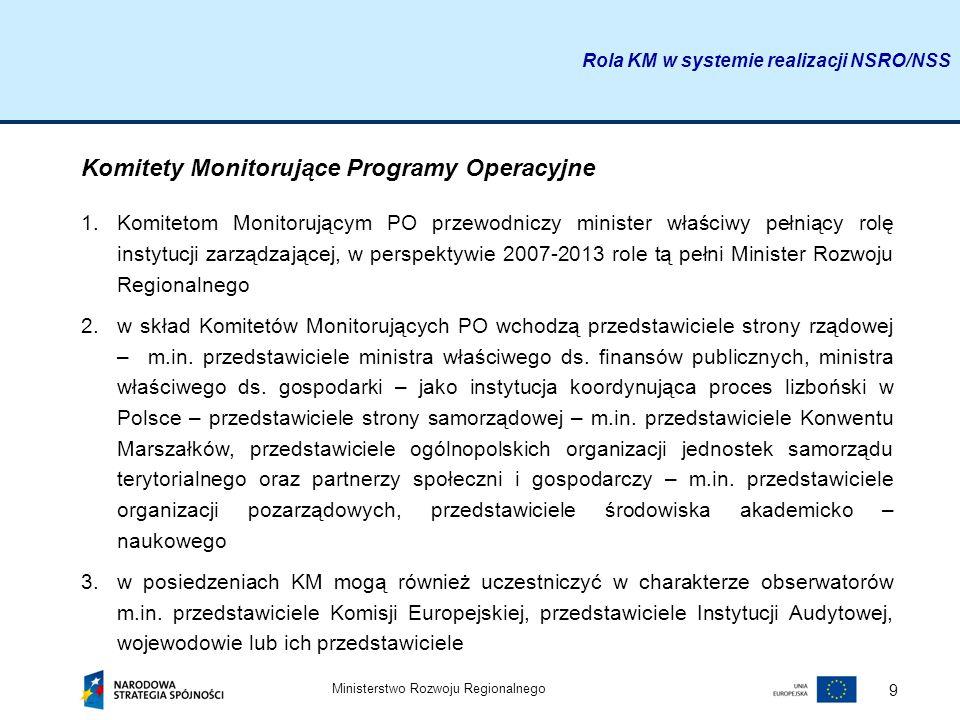 Ministerstwo Rozwoju Regionalnego 9 Rola KM w systemie realizacji NSRO/NSS Komitety Monitorujące Programy Operacyjne 1.Komitetom Monitorującym PO prze