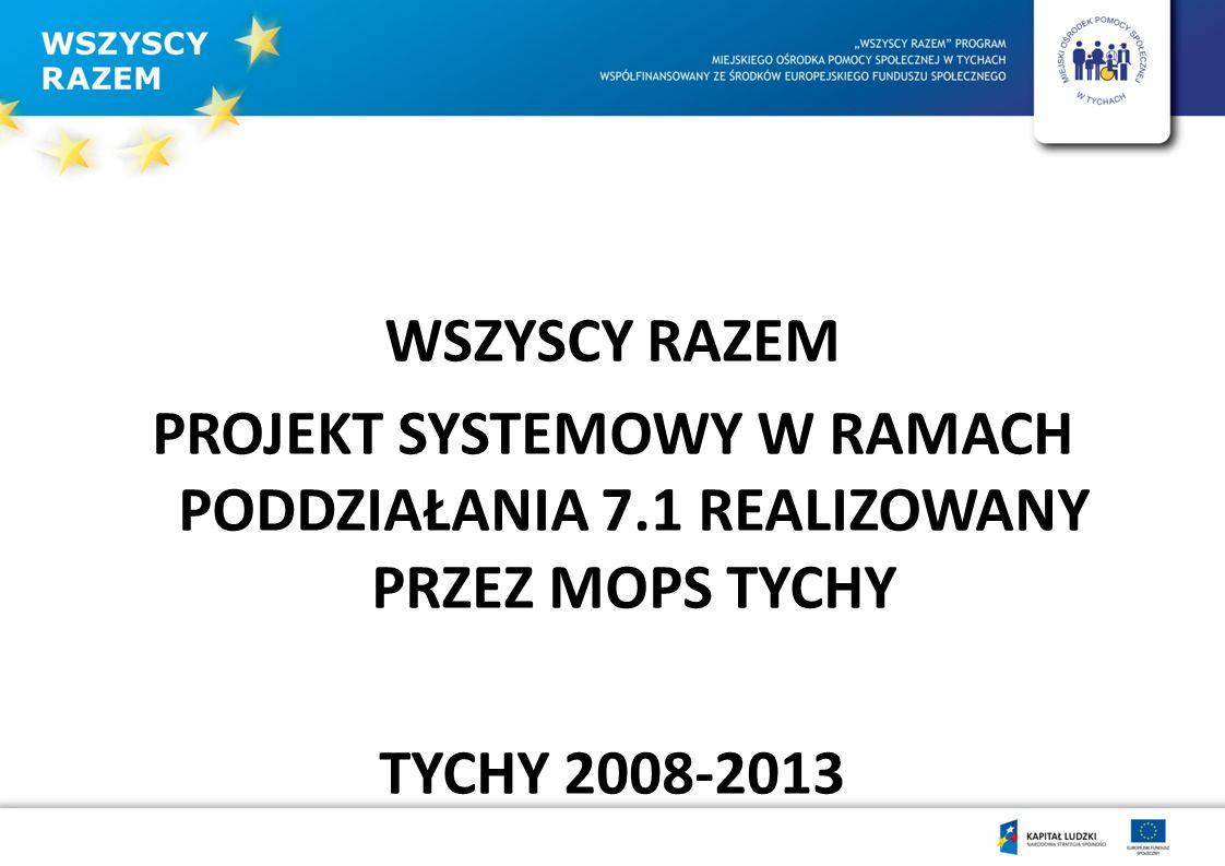 Wartość wsparcia systemowego: Unia Europejska-2 767 535,30 Miasto Tychy- 327 980,25 RAZEM: 3 095 515,55 Uczestnicy projektu: 428 OSÓB 130 NIEPELNOSPRAWNYCH 97 PAL 135 OSÓB Z OTOCZENIA UCZESTNIKÓW