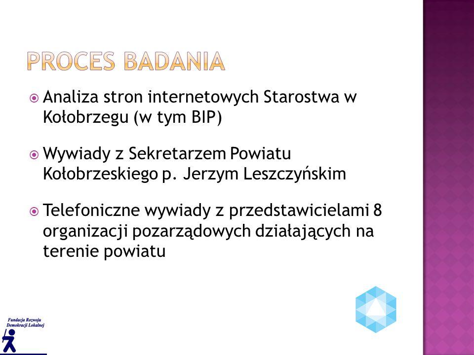  Analiza stron internetowych Starostwa w Kołobrzegu (w tym BIP)  Wywiady z Sekretarzem Powiatu Kołobrzeskiego p.