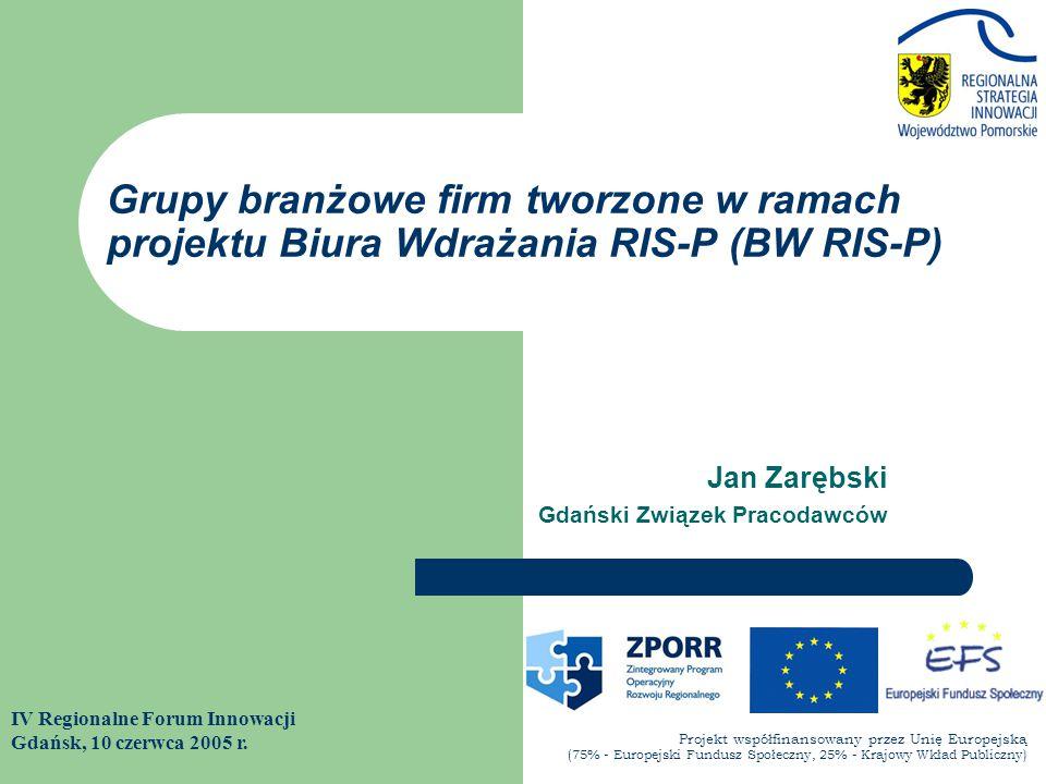 Jan Zarębski Gdański Związek Pracodawców IV Regionalne Forum Innowacji Gdańsk, 10 czerwca 2005 r. Grupy branżowe firm tworzone w ramach projektu Biura