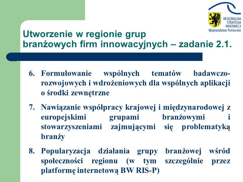 Utworzenie w regionie grup branżowych firm innowacyjnych – zadanie 2.1. 6.Formułowanie wspólnych tematów badawczo- rozwojowych i wdrożeniowych dla wsp