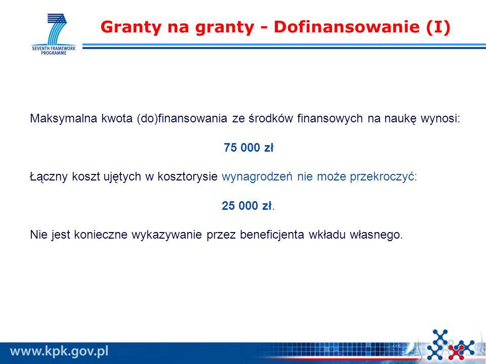 Granty na granty - Dofinansowanie (I) Maksymalna kwota (do)finansowania ze środków finansowych na naukę wynosi: 75 000 zł Łączny koszt ujętych w kosztorysie wynagrodzeń nie może przekroczyć: 25 000 zł.