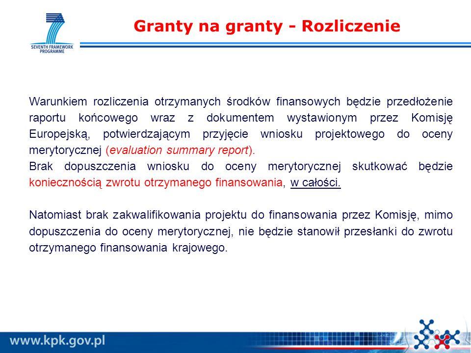 Granty na granty - Rozliczenie Warunkiem rozliczenia otrzymanych środków finansowych będzie przedłożenie raportu końcowego wraz z dokumentem wystawionym przez Komisję Europejską, potwierdzającym przyjęcie wniosku projektowego do oceny merytorycznej (evaluation summary report).