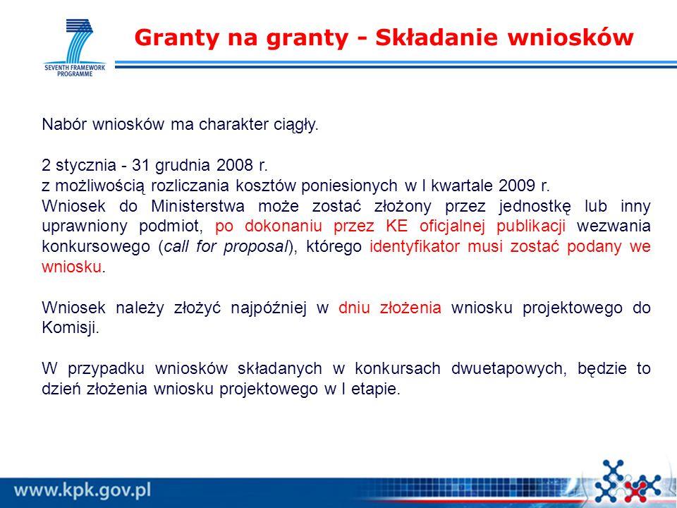 Granty na granty - Składanie wniosków Nabór wniosków ma charakter ciągły.
