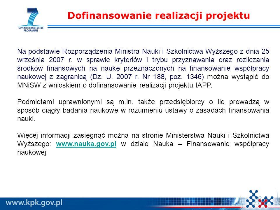 Dofinansowanie realizacji projektu Na podstawie Rozporządzenia Ministra Nauki i Szkolnictwa Wyższego z dnia 25 września 2007 r.