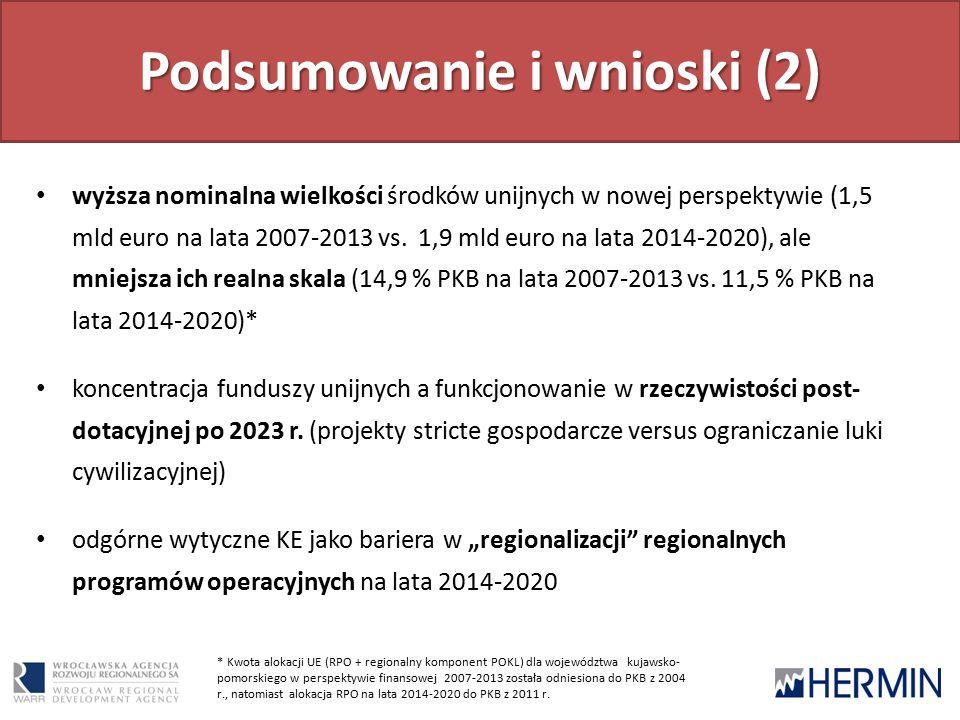 Podsumowanie i wnioski (2) wyższa nominalna wielkości środków unijnych w nowej perspektywie (1,5 mld euro na lata 2007-2013 vs.