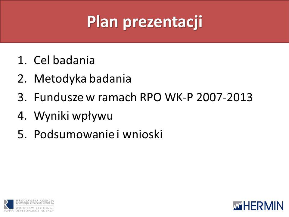 Plan prezentacji 1.Cel badania 2.Metodyka badania 3.Fundusze w ramach RPO WK-P 2007-2013 4.Wyniki wpływu 5.Podsumowanie i wnioski