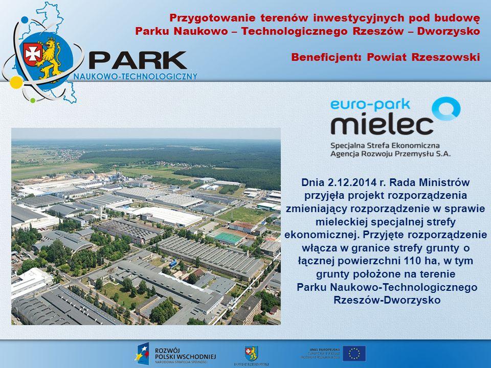 Przygotowanie terenów inwestycyjnych pod budowę Parku Naukowo – Technologicznego Rzeszów – Dworzysko Beneficjent: Powiat Rzeszowski Dnia 2.12.2014 r.