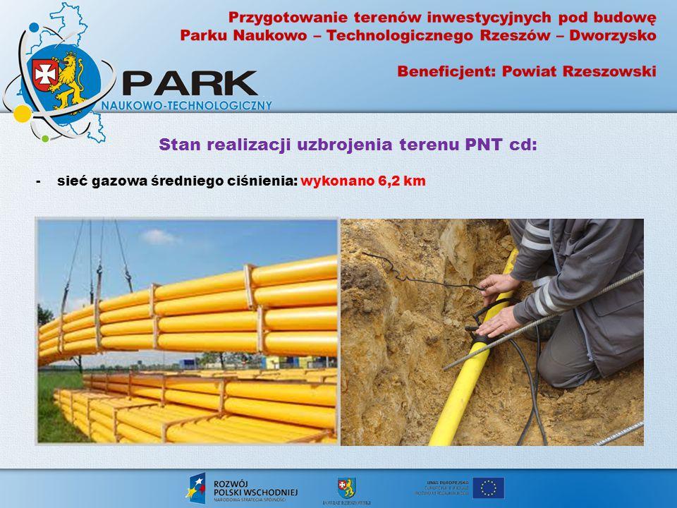 Stan realizacji uzbrojenia terenu PNT cd: - drogi: wykonano 5,3 km - chodniki: wykonano 0,8651 ha - ścieżki rowerowe: wykonano 0,9676 ha