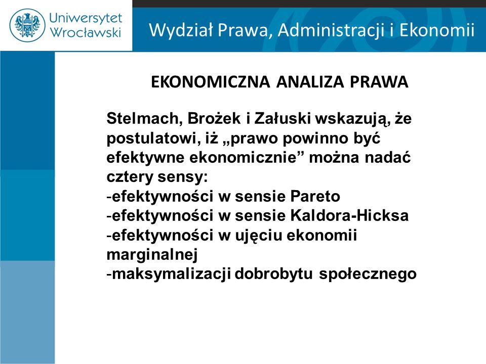 """Wydział Prawa, Administracji i Ekonomii EKONOMICZNA ANALIZA PRAWA Stelmach, Brożek i Załuski wskazują, że postulatowi, iż """"prawo powinno być efektywne"""