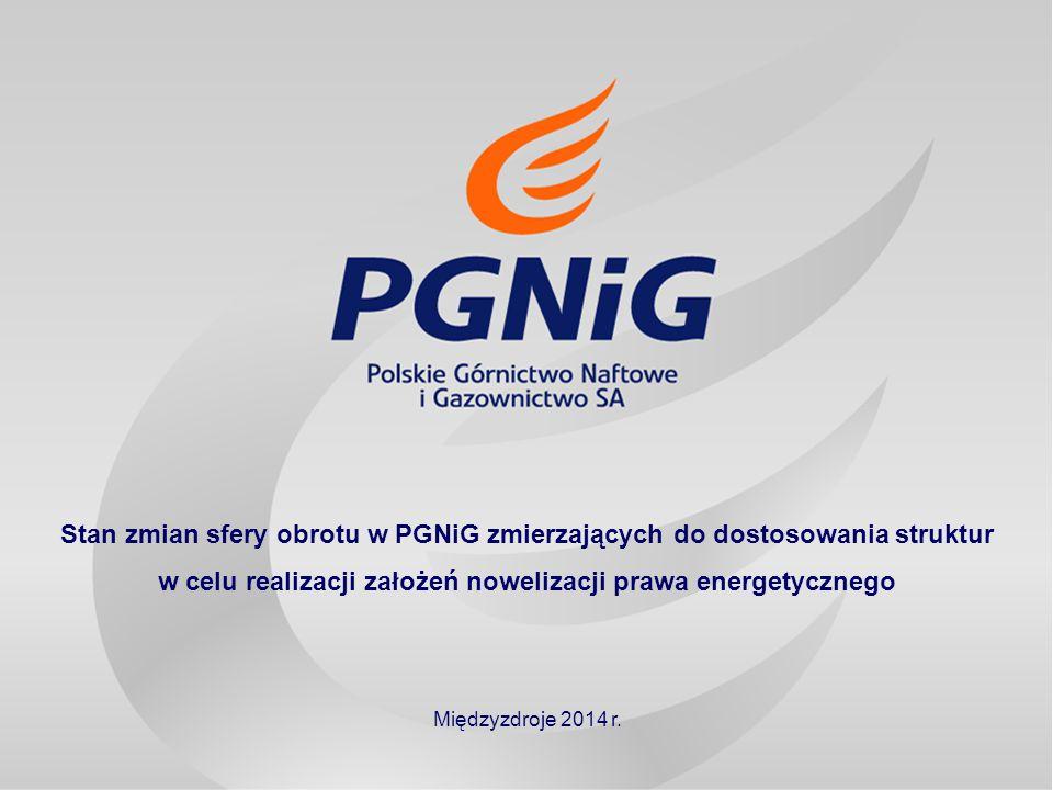 11 Stan zmian sfery obrotu w PGNiG zmierzających do dostosowania struktur w celu realizacji założeń nowelizacji prawa energetycznego Międzyzdroje 2014