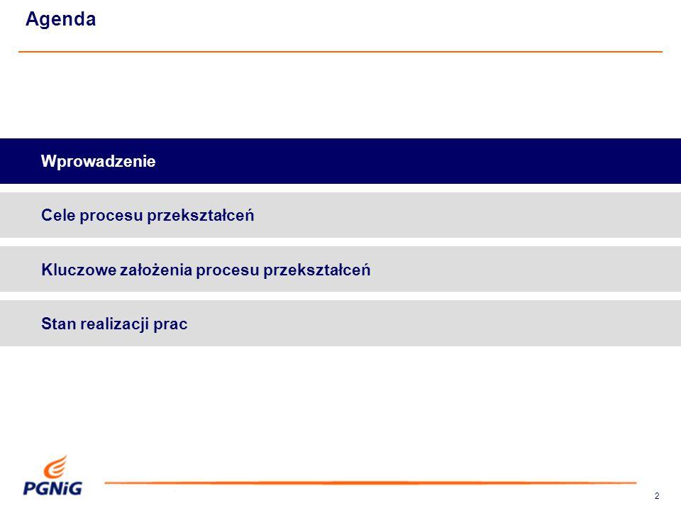 22 Agenda Kluczowe założenia procesu przekształceń Wprowadzenie Cele procesu przekształceń Stan realizacji prac