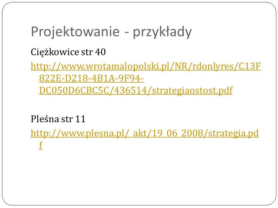 Projektowanie - przykłady Ciężkowice str 40 http://www.wrotamalopolski.pl/NR/rdonlyres/C13F 822E-D218-4B1A-9F94- DC050D6CBC5C/436514/strategiaostost.p