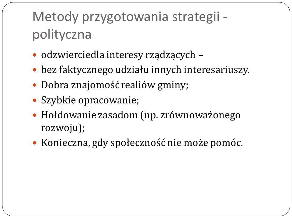 Metody przygotowania strategii - polityczna odzwierciedla interesy rządzących – bez faktycznego udziału innych interesariuszy. Dobra znajomość realiów