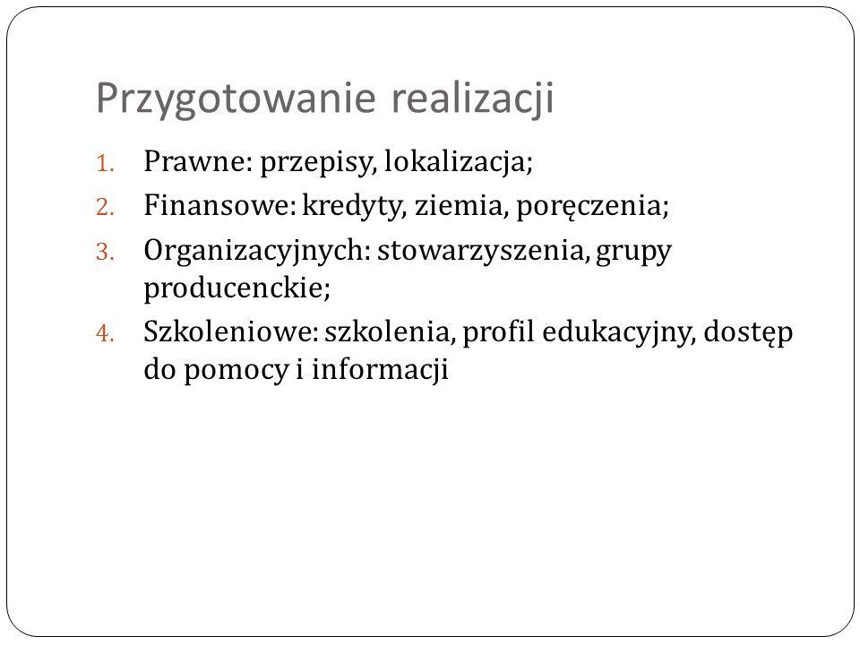 Przygotowanie realizacji 1. Prawne: przepisy, lokalizacja; 2. Finansowe: kredyty, ziemia, poręczenia; 3. Organizacyjnych: stowarzyszenia, grupy produc