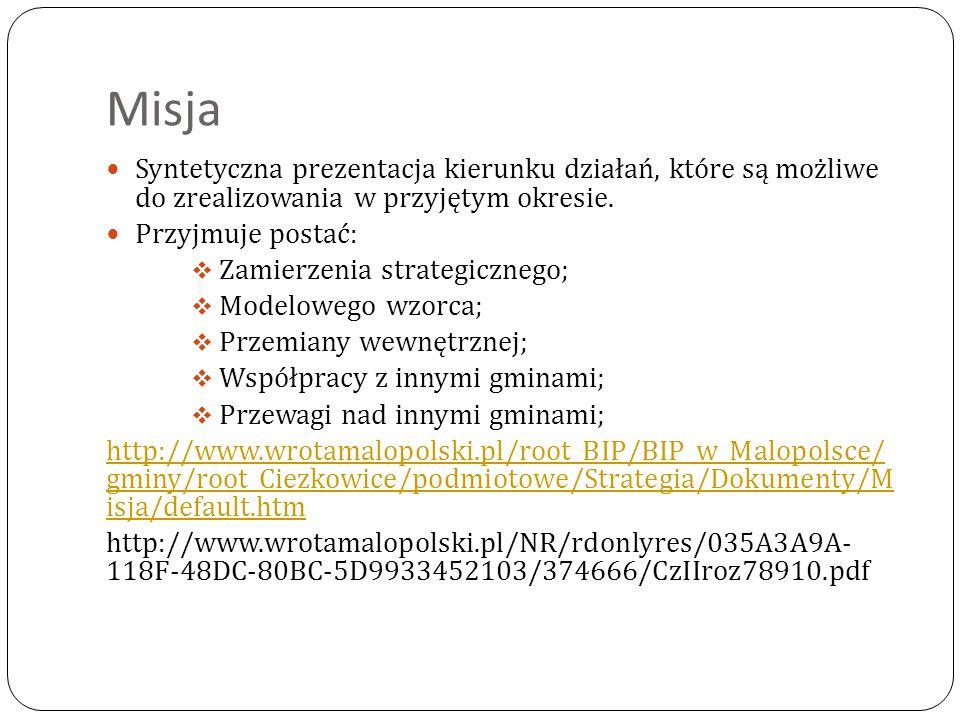 Misja Syntetyczna prezentacja kierunku działań, które są możliwe do zrealizowania w przyjętym okresie. Przyjmuje postać:  Zamierzenia strategicznego;
