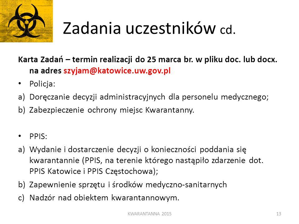 Zadania uczestników cd. KWARANTANNA 201513 Karta Zadań – termin realizacji do 25 marca br. w pliku doc. lub docx. na adres szyjam@katowice.uw.gov.pl P
