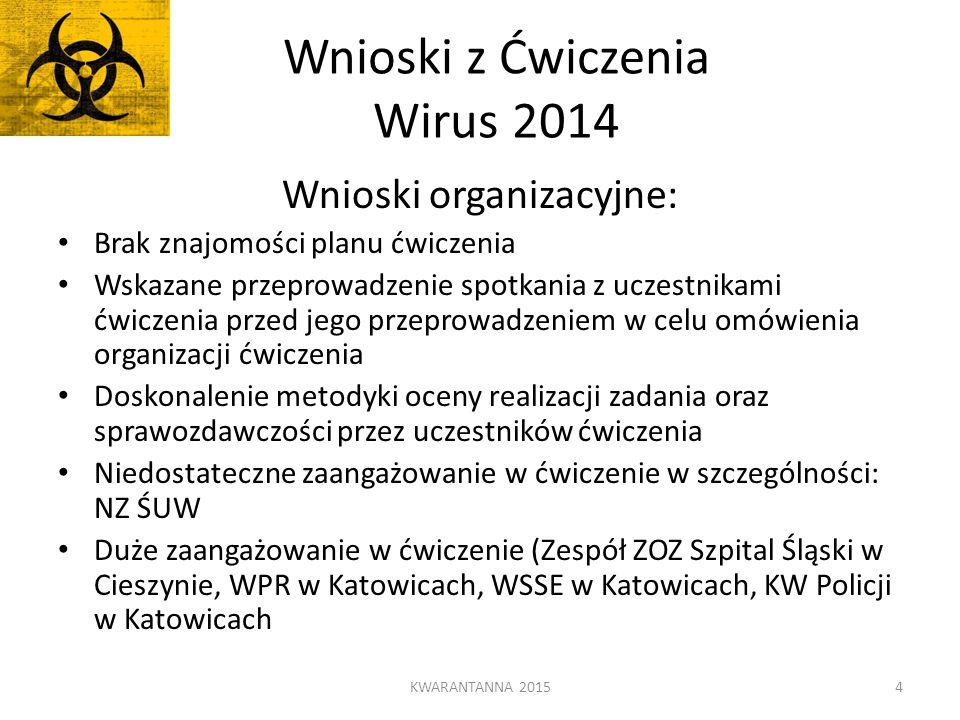 Wnioski z Ćwiczenia Wirus 2014 Wnioski organizacyjne: Brak znajomości planu ćwiczenia Wskazane przeprowadzenie spotkania z uczestnikami ćwiczenia prze