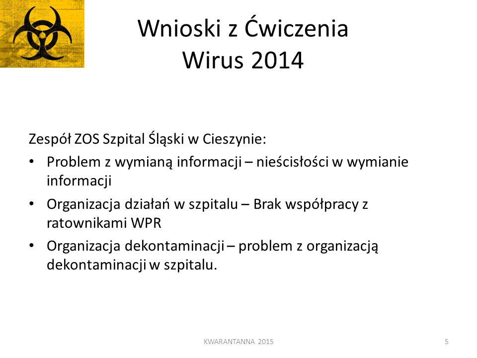 Wnioski z Ćwiczenia Wirus 2014 Zespół ZOS Szpital Śląski w Cieszynie: Problem z wymianą informacji – nieścisłości w wymianie informacji Organizacja dz