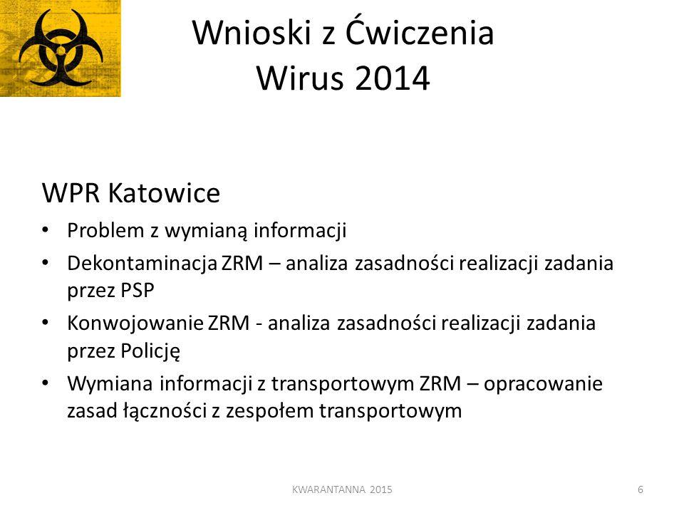 Wnioski z Ćwiczenia Wirus 2014 WPR Katowice Problem z wymianą informacji Dekontaminacja ZRM – analiza zasadności realizacji zadania przez PSP Konwojow