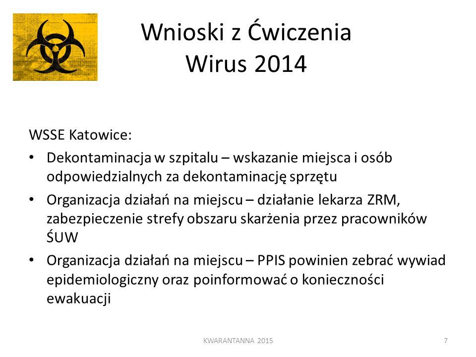 Wnioski z Ćwiczenia Wirus 2014 WSSE Katowice: Dekontaminacja w szpitalu – wskazanie miejsca i osób odpowiedzialnych za dekontaminację sprzętu Organiza