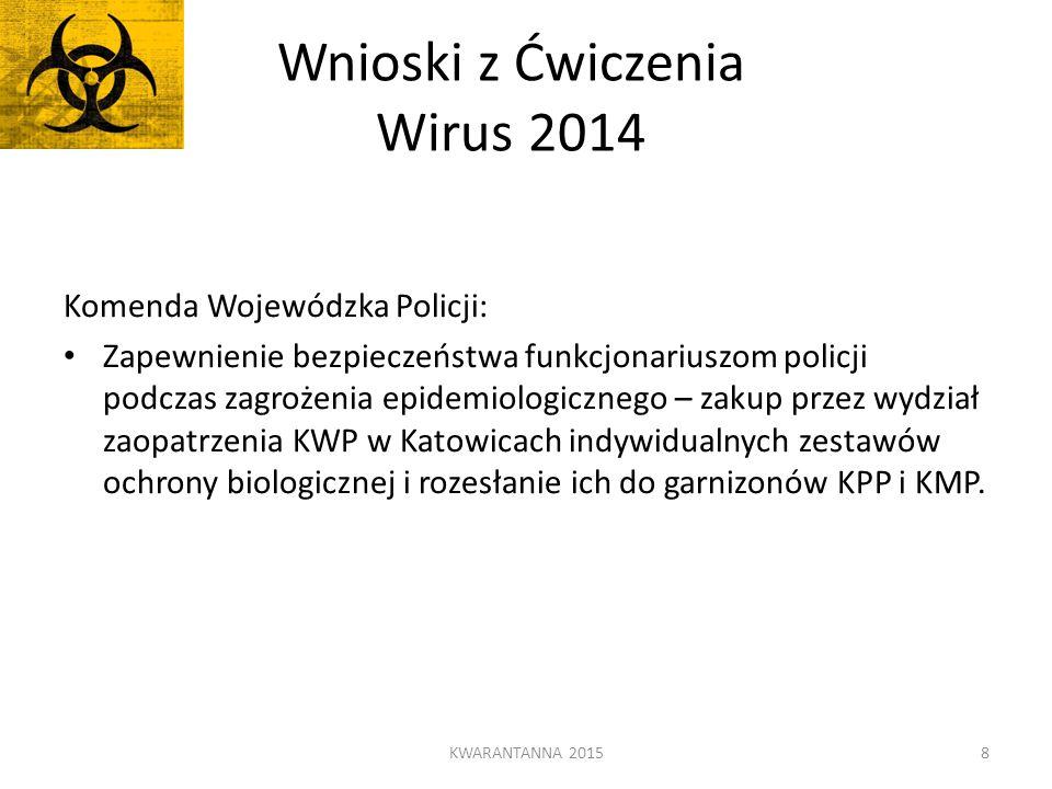 Wnioski z Ćwiczenia Wirus 2014 Komenda Wojewódzka Policji: Zapewnienie bezpieczeństwa funkcjonariuszom policji podczas zagrożenia epidemiologicznego –