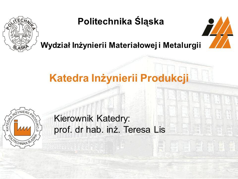 1Politechnika Śląska, Wydział Inżynierii Materiałowej i Metalurgii Katowice, ul. Krasińskiego 8 www.wimim.polsl.pl Politechnika Śląska Wydział Inżynie