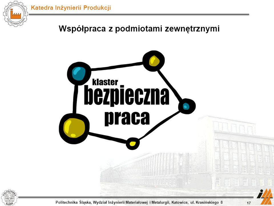 Katedra Inżynierii Produkcji Współpraca z podmiotami zewnętrznymi 17 Politechnika Śląska, Wydział Inżynierii Materiałowej i Metalurgii, Katowice, ul.