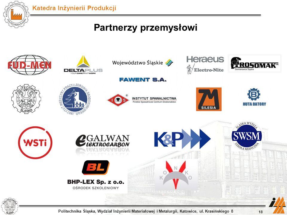 Katedra Inżynierii Produkcji 18 Politechnika Śląska, Wydział Inżynierii Materiałowej i Metalurgii, Katowice, ul. Krasińskiego 8 Partnerzy przemysłowi
