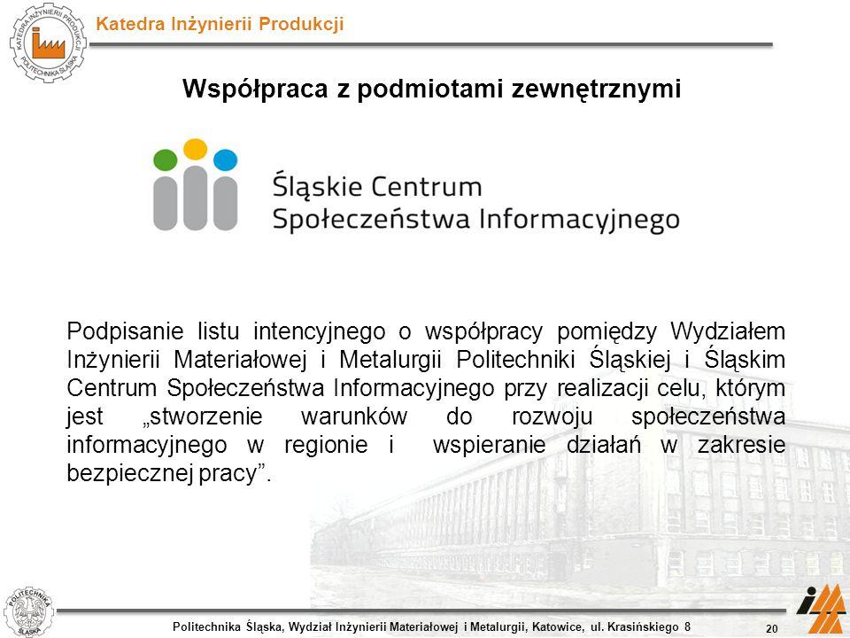 Katedra Inżynierii Produkcji Współpraca z podmiotami zewnętrznymi 20 Politechnika Śląska, Wydział Inżynierii Materiałowej i Metalurgii, Katowice, ul.