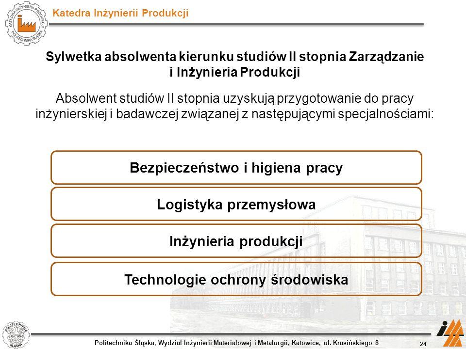 Katedra Inżynierii Produkcji Sylwetka absolwenta kierunku studiów II stopnia Zarządzanie i Inżynieria Produkcji Absolwent studiów II stopnia uzyskują