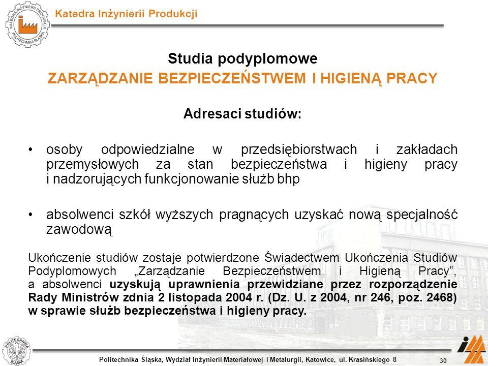 Katedra Inżynierii Produkcji Studia podyplomowe ZARZĄDZANIE BEZPIECZEŃSTWEM I HIGIENĄ PRACY Adresaci studiów: osoby odpowiedzialne w przedsiębiorstwac