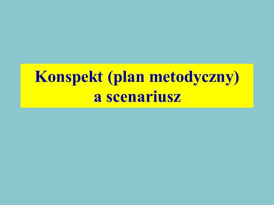 Konspekt (plan metodyczny) a scenariusz