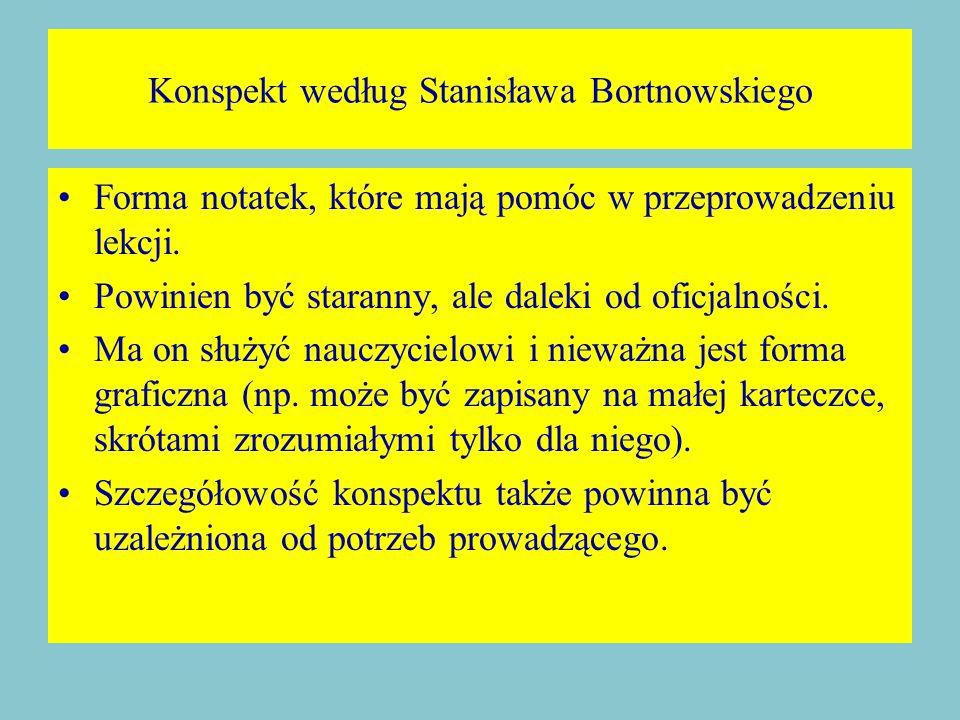Konspekt według Stanisława Bortnowskiego Forma notatek, które mają pomóc w przeprowadzeniu lekcji.