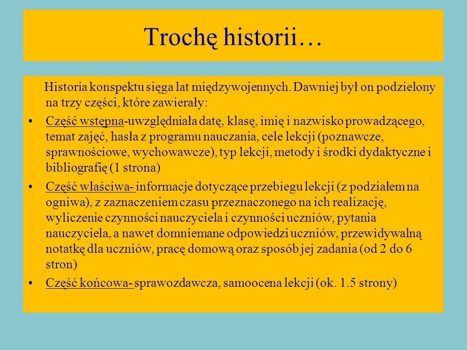 Trochę historii… Historia konspektu sięga lat międzywojennych.