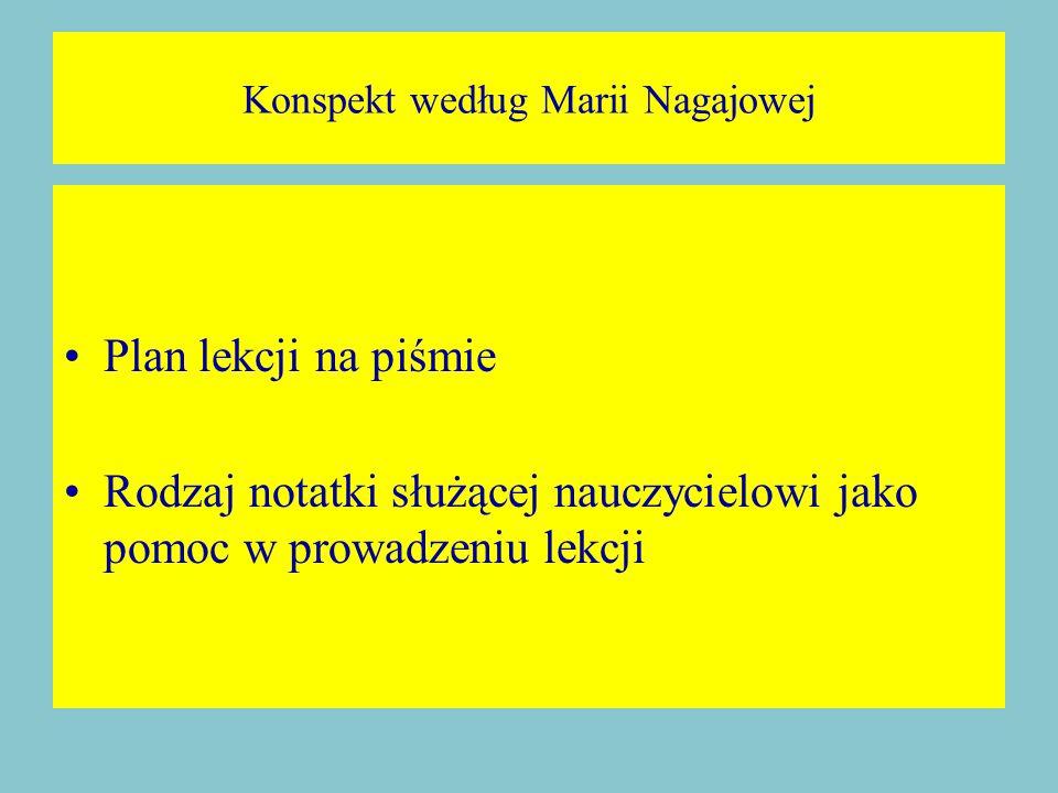 Konspekt według Marii Nagajowej Plan lekcji na piśmie Rodzaj notatki służącej nauczycielowi jako pomoc w prowadzeniu lekcji