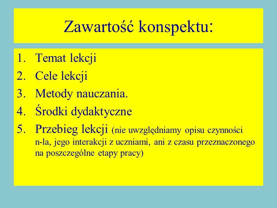 Zawartość konspektu : 1.Temat lekcji 2.Cele lekcji 3.Metody nauczania.