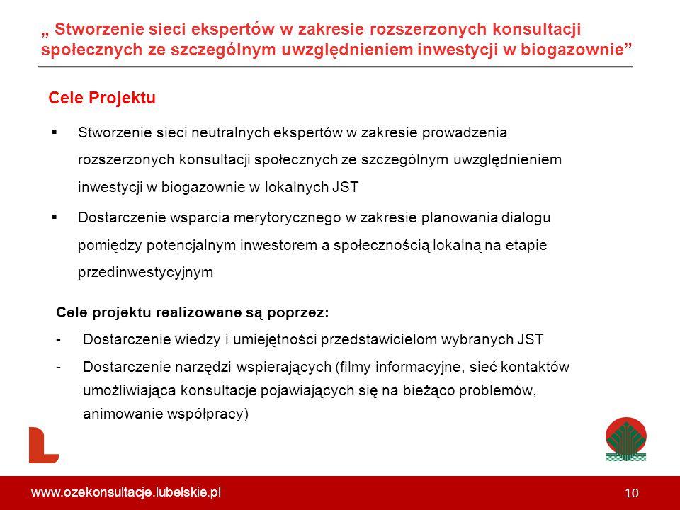 """ Stworzenie sieci neutralnych ekspertów w zakresie prowadzenia rozszerzonych konsultacji społecznych ze szczególnym uwzględnieniem inwestycji w biogazownie w lokalnych JST  Dostarczenie wsparcia merytorycznego w zakresie planowania dialogu pomiędzy potencjalnym inwestorem a społecznością lokalną na etapie przedinwestycyjnym Cele Projektu Cele projektu realizowane są poprzez: -Dostarczenie wiedzy i umiejętności przedstawicielom wybranych JST -Dostarczenie narzędzi wspierających (filmy informacyjne, sieć kontaktów umożliwiająca konsultacje pojawiających się na bieżąco problemów, animowanie współpracy) 10 www.ozekonsultacje.lubelskie.pl """" Stworzenie sieci ekspertów w zakresie rozszerzonych konsultacji społecznych ze szczególnym uwzględnieniem inwestycji w biogazownie"""